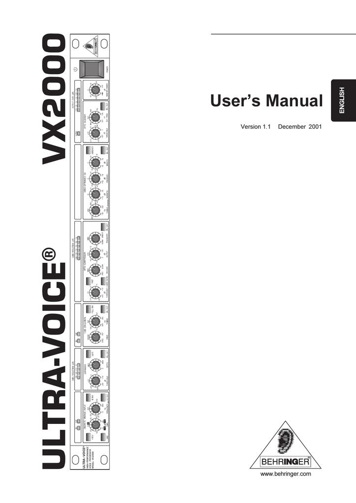 BEHRINGER VX2000 MANUAL PDF