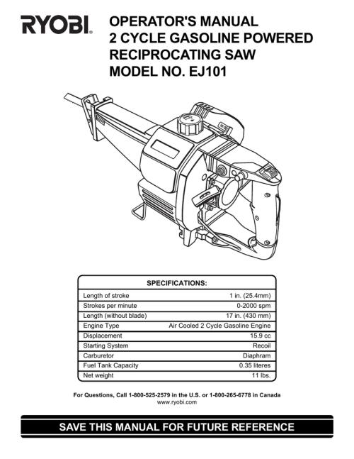small resolution of ryobi ej101 operator s manual