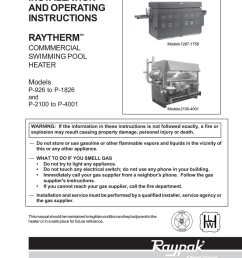 raypak raytherm 1287 1758 2100 4001 operating instructions [ 791 x 1024 Pixel ]
