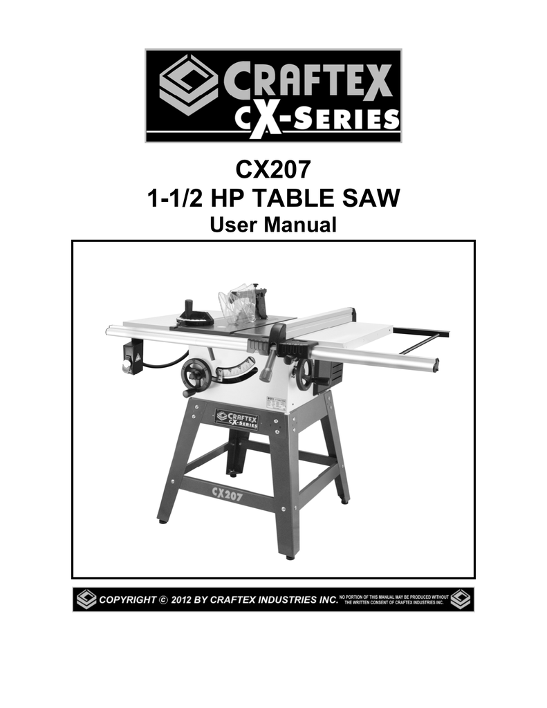 Craftex Table Saw Parts