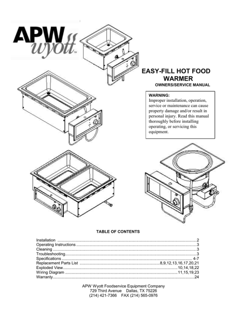 small resolution of apw wyott hfw 12d service manual manualzz com