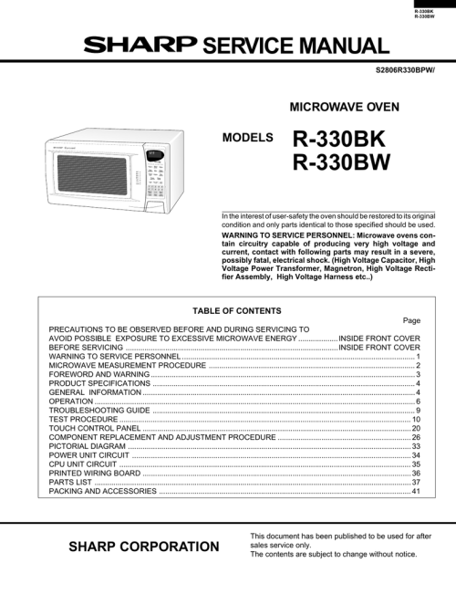 small resolution of sharp r 330bw service manual manualzz com schematic diagram parts list for model r930ak sharpparts microwave
