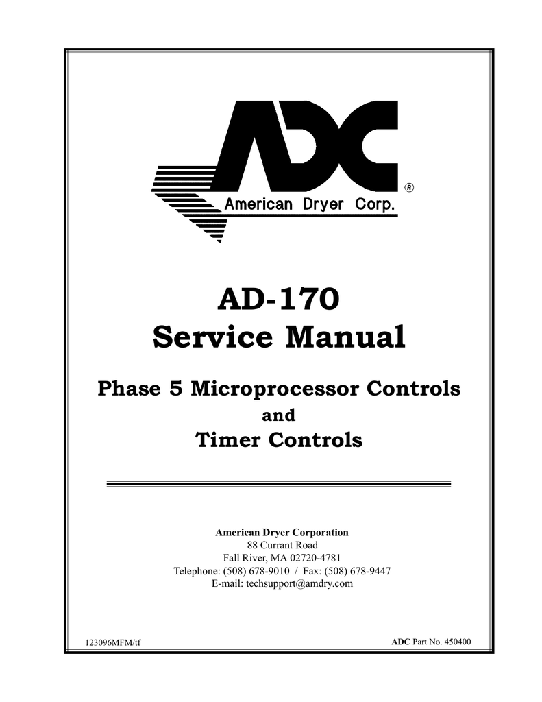 ADC Phase 5 Microprocessor AD-170 Service manual
