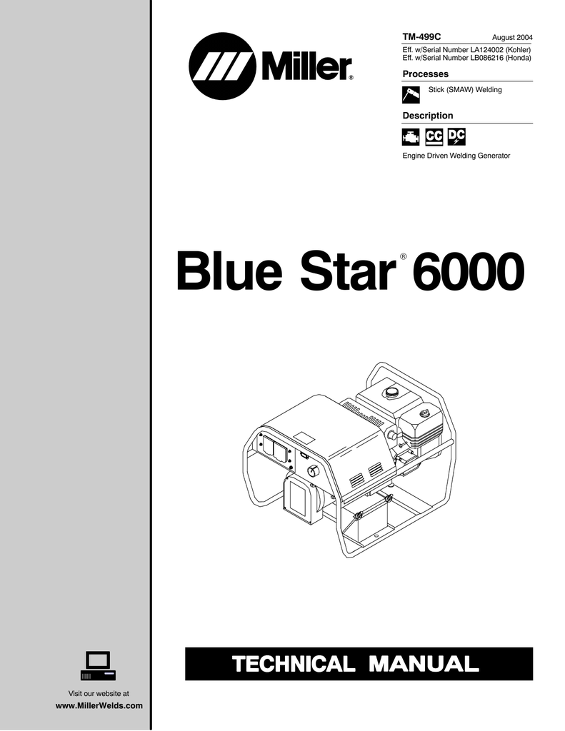 hight resolution of miller electric blue star 6000 tm 499c specifications