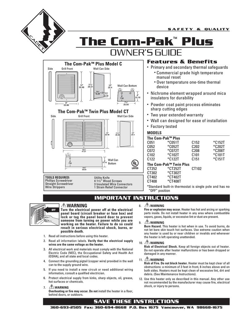medium resolution of cadet the com pak plus troubleshooting guide