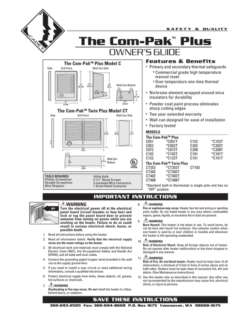 small resolution of cadet the com pak plus troubleshooting guide
