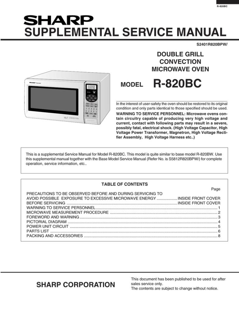 sharp r 820bc service manual manualzz