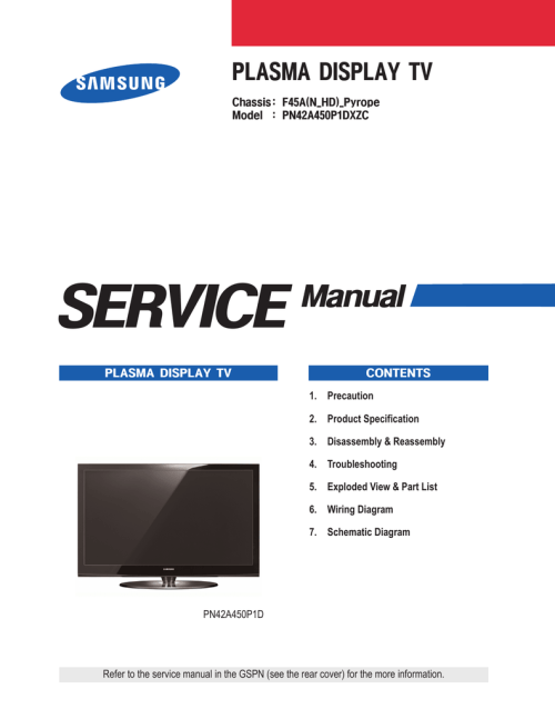 small resolution of samsung pn50a450p1d service manual