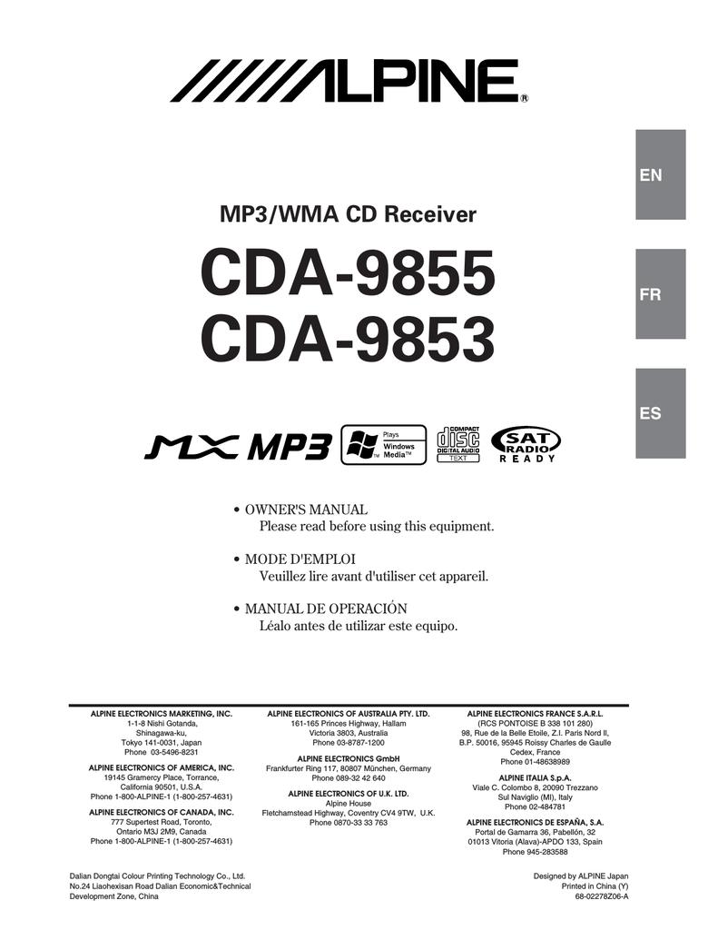 hight resolution of alpine cda 9853 radio cd owner s manual