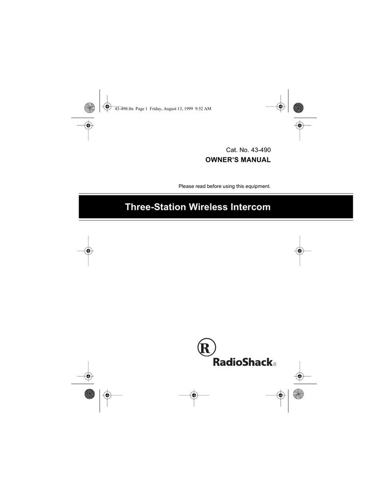 Radio Shack FM Telephone Line Intercom Owner`s manual