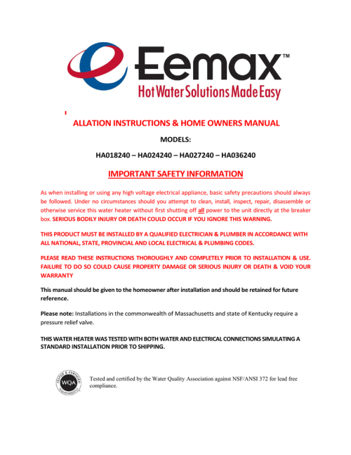 small resolution of eemax ha027240 operating instructions manualzz comeemax ha027240 operating instructions