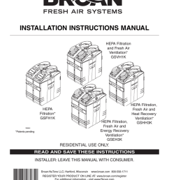 broan fresh air system erv90hct technical data installation instructions manual  [ 791 x 1024 Pixel ]