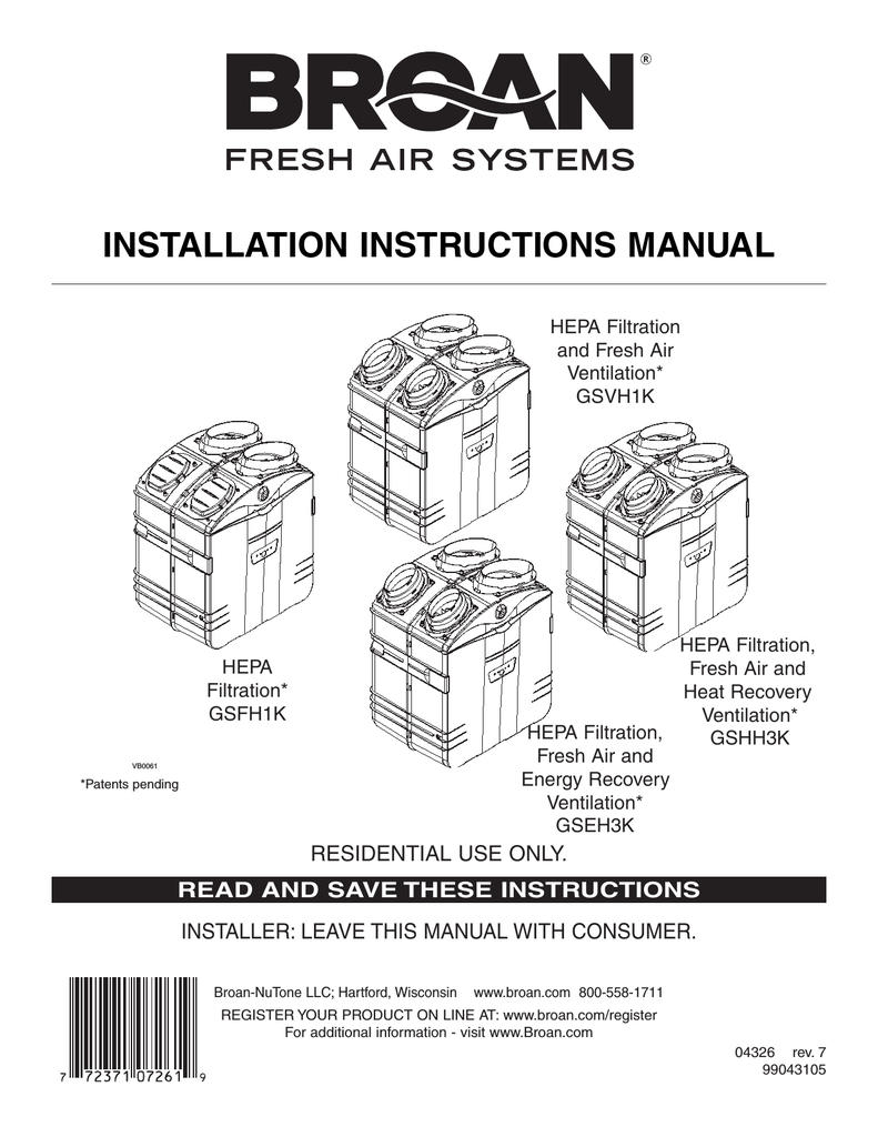 hight resolution of broan fresh air system erv90hct technical data installation instructions manual