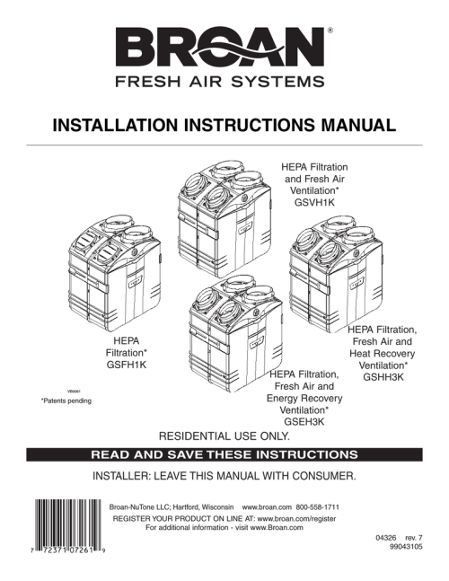 small resolution of broan fresh air system erv90hct technical data installation instructions manual