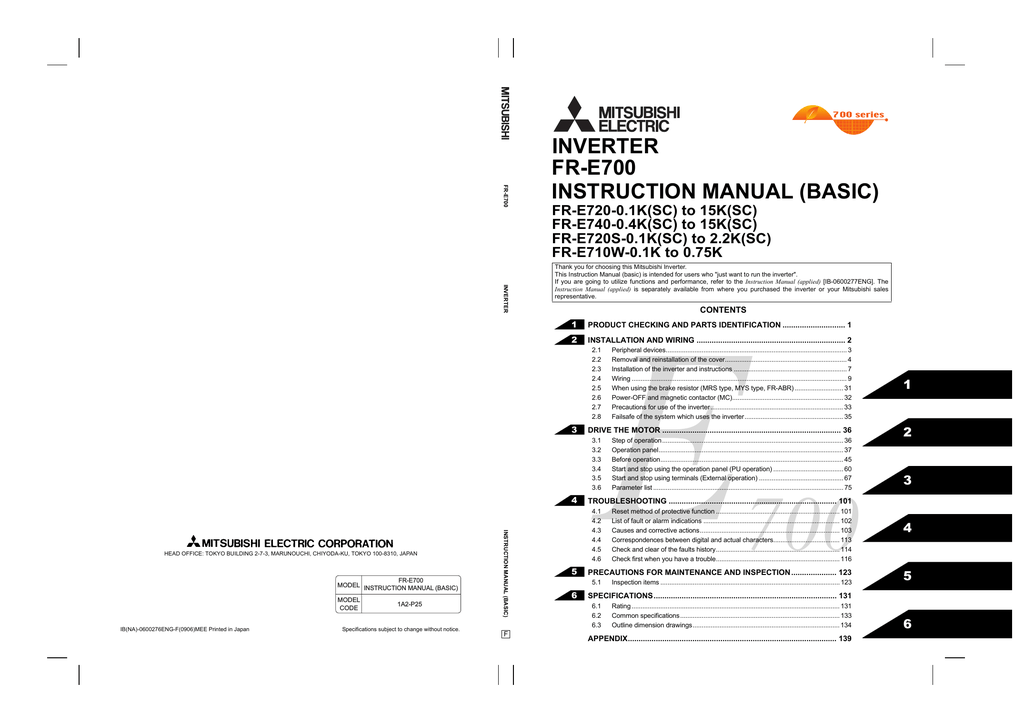 Mitsubishi Electric FR-ABR-(H)0.4K Instruction manual