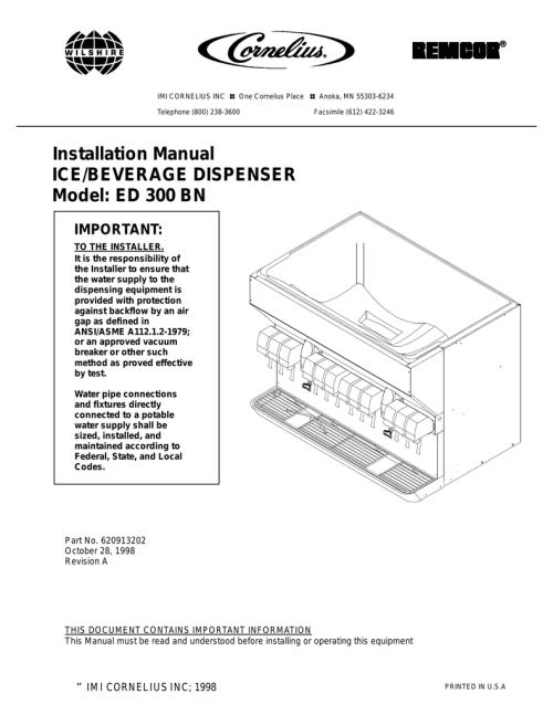 small resolution of cornelius ed 300 bn installation manual