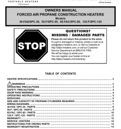 scheu products company 125 f spc 125 specifications owners manual forced air propane  [ 791 x 1024 Pixel ]