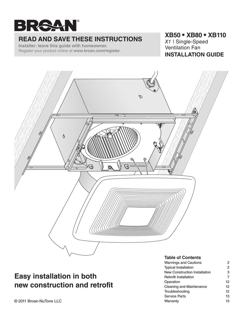 medium resolution of broan xb80 installation guide manualzz com broan wiring diagram install guide