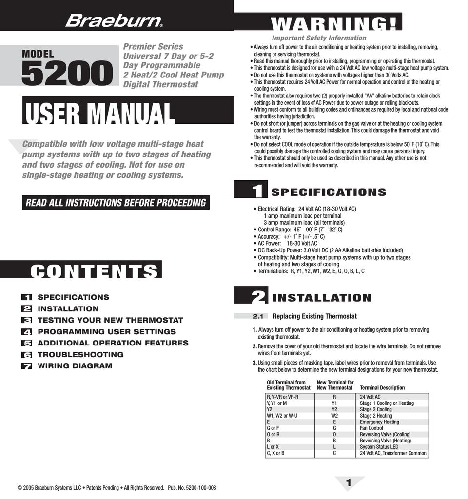 hight resolution of braeburn 5200 user manual manualzz com thermostat wiring simple you honeywell diagram engine