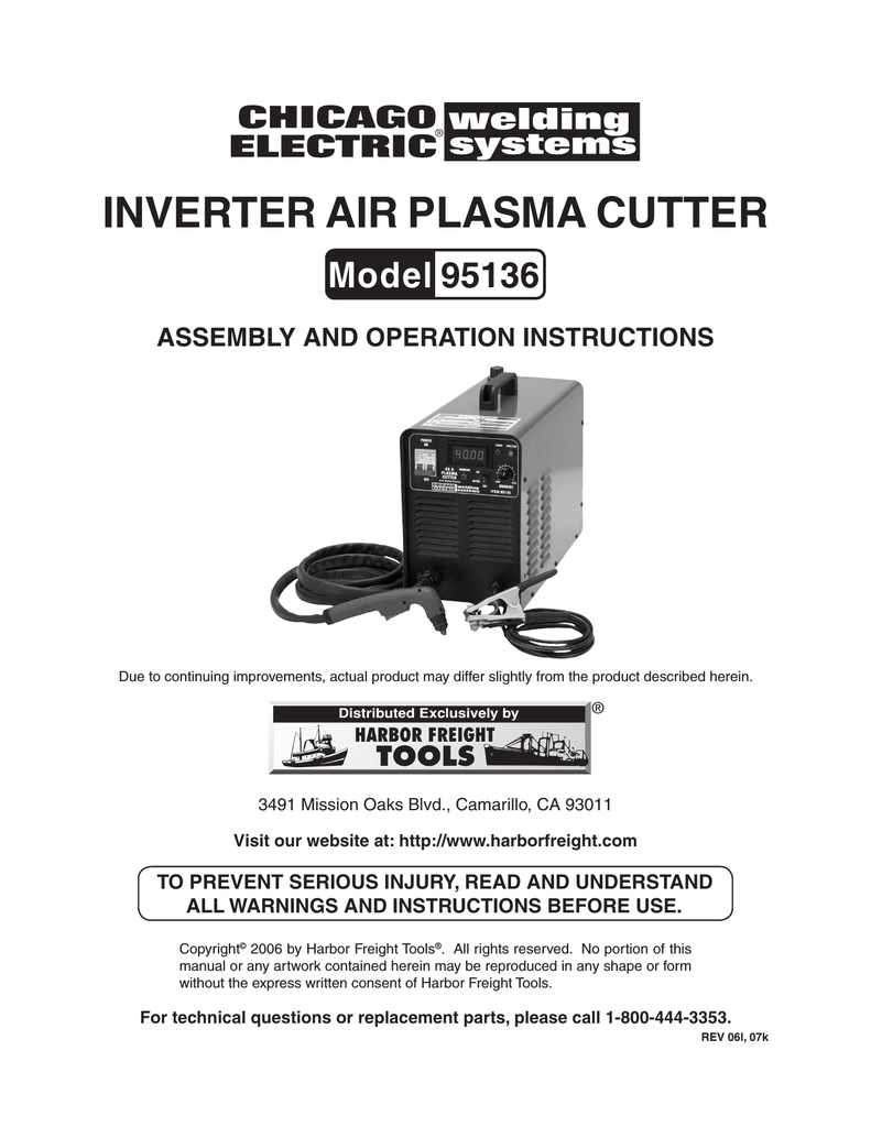 hight resolution of chicago electric 95136 specifications inverter air plasma cutter