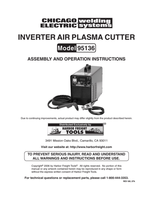 small resolution of chicago electric 95136 specifications inverter air plasma cutter