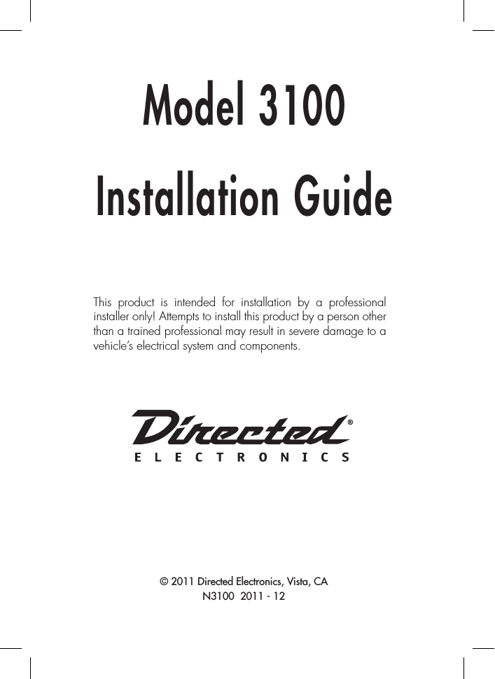 directed electronics 3100 wiring diagram 480v to 120v transformer avital installation guide and schematics manual nice