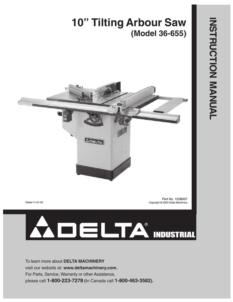 Delta Unisaw 10 Tilting Arbor Saw Manual