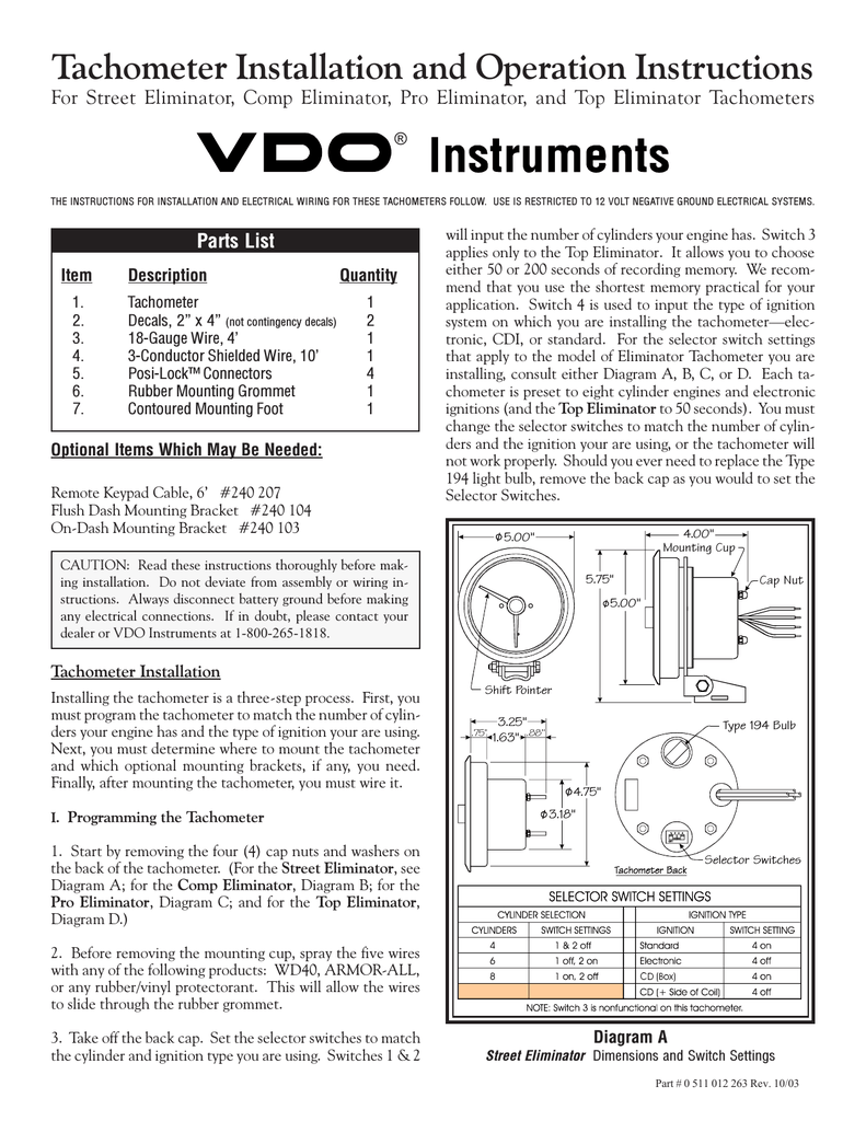 hight resolution of vdo tachometer installation manual manualzz com digital tach wiring vdo tach wiring