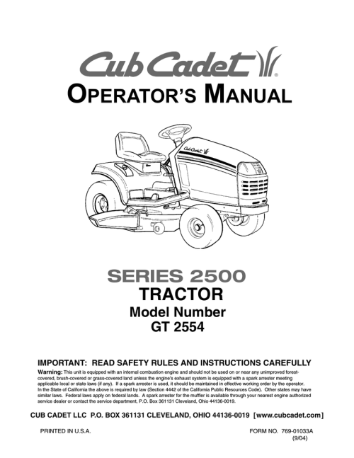small resolution of cub cadet gt 2554 operator s manual manualzz com 2006 cub cadet gt2554 cub cadet cub cadet gt2554 schematic trusted wiring