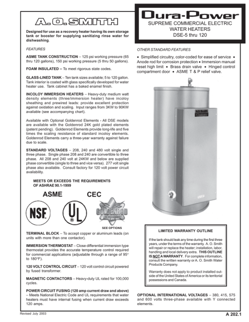 small resolution of a202 1 a o smith water heaters