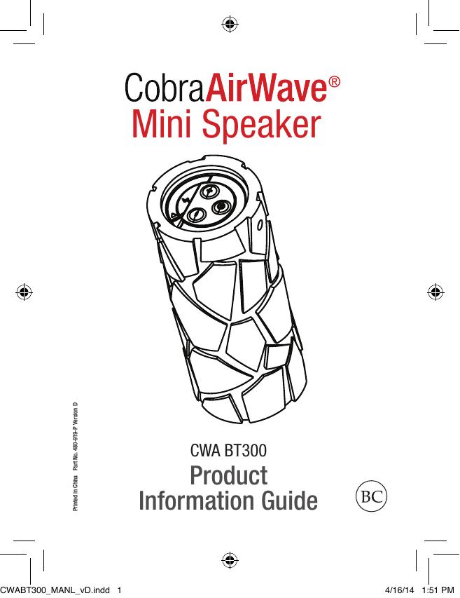 Cobra Electronics AirWave, CWA BT300, AirWave Mini User