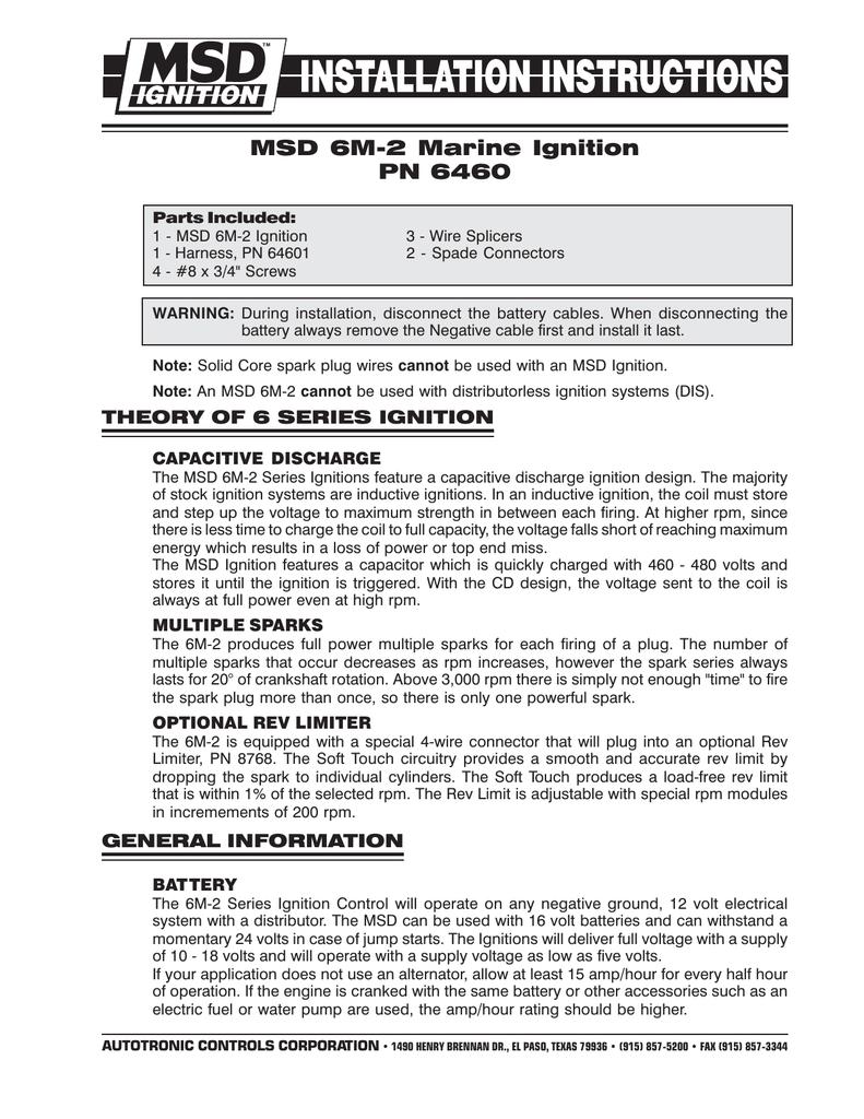 hight resolution of msd 6460 ignition kit installation instructions msd 6m 2