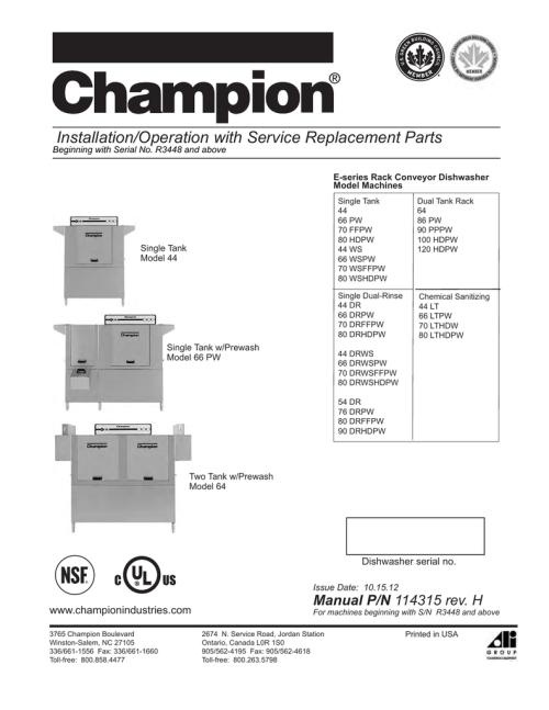 small resolution of champion model 66 drpw troubleshooting guide manualzz com champion dish machine wiring diagram