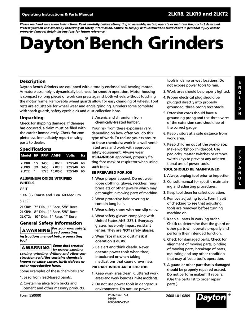 Dayton Bench Grinder Parts List