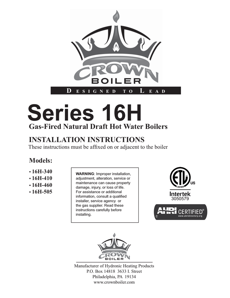 Crown Boiler 16 Series and Operating instructions