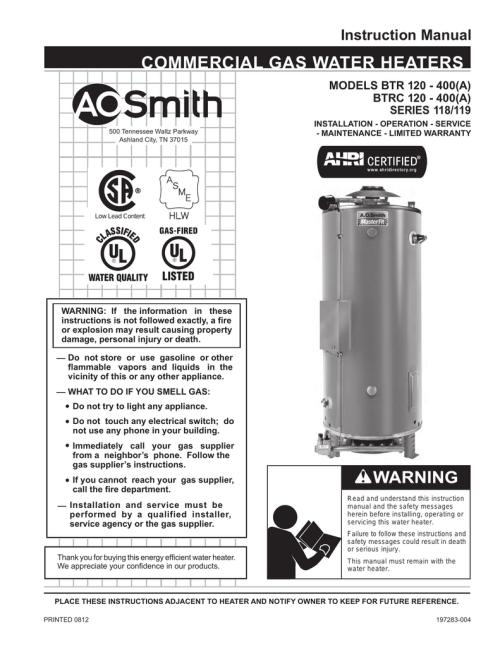 small resolution of  a o smith 120 trough 500 instruction manual manualzz com on gas hot water heater