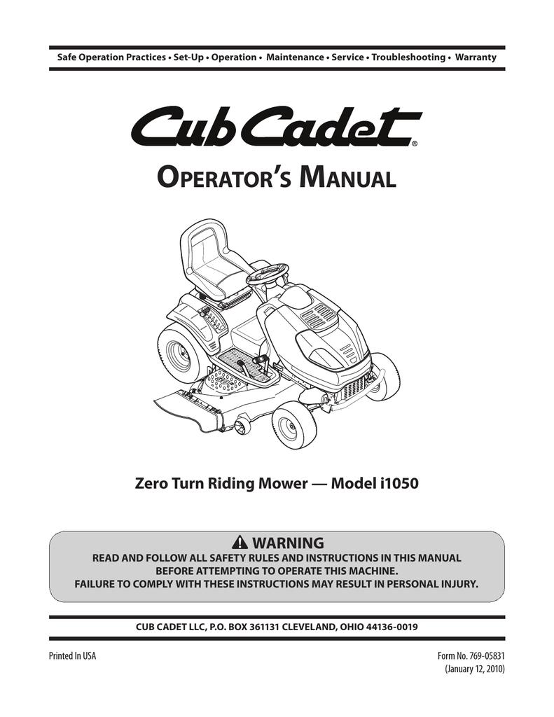 medium resolution of cub cadet i1050 operator s manual