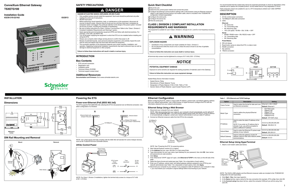 Schneider Electric TSXETG100 Installation guide