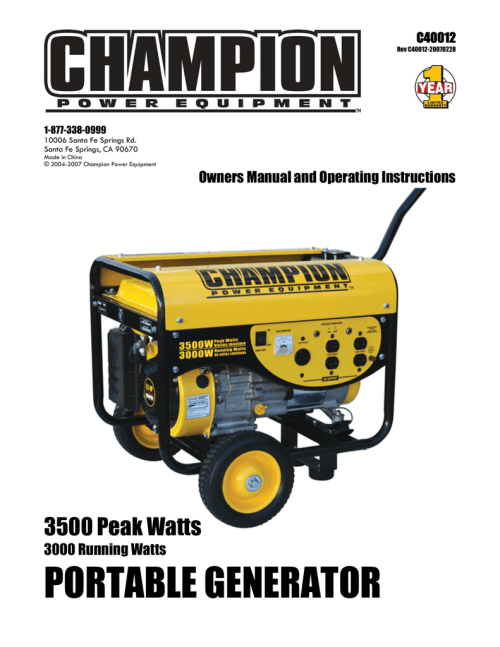 small resolution of champion c40012 operating instructions