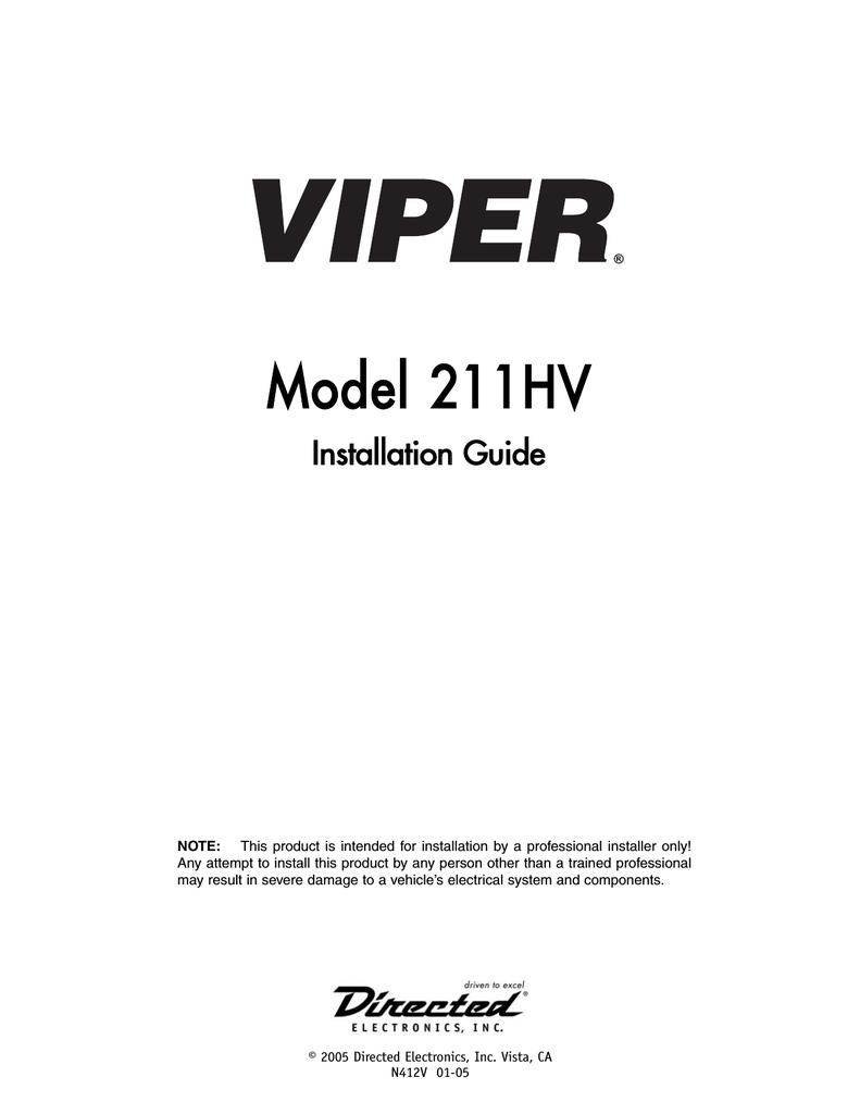 hight resolution of viper 211hv installation guide