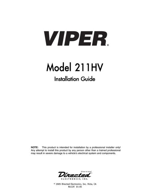 small resolution of viper 211hv installation guide