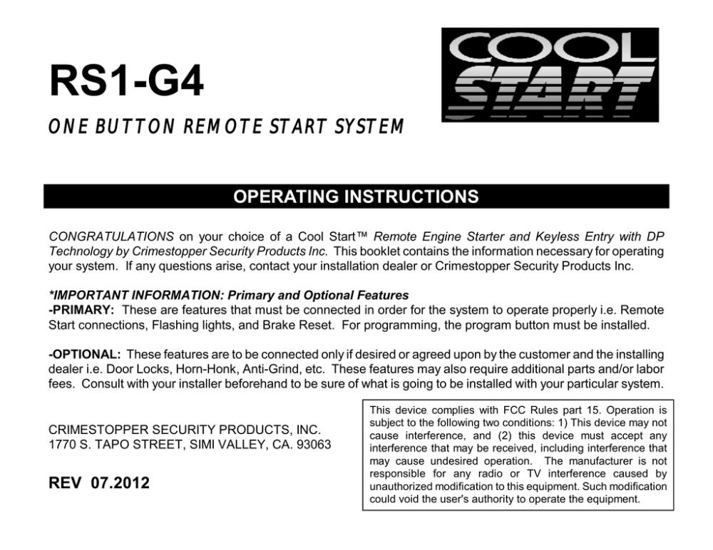 medium resolution of crimestopper rs 1 operating instructions