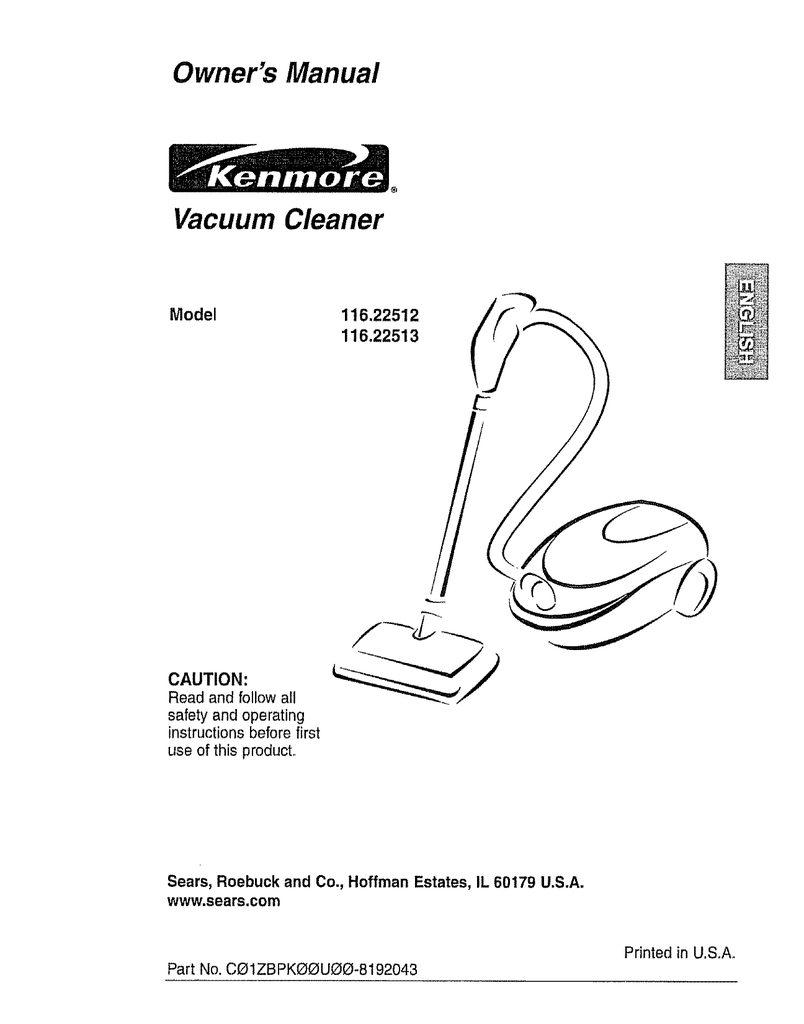 hight resolution of sears 116 owner s manual owner s manual vacuum cleaner