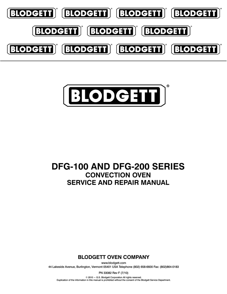 hight resolution of blodgett dfg 100 repair manual dfg 100 and dfg 200 series convection oven