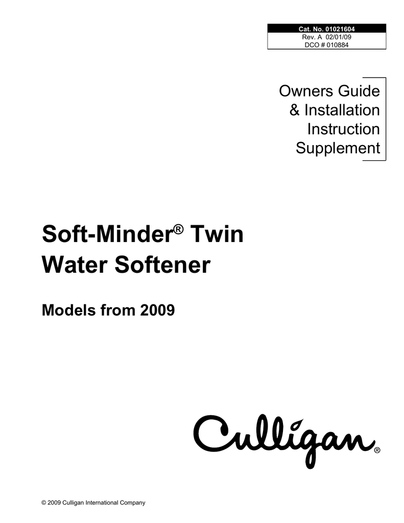 Culligan Automatic Water Softeners Service manual