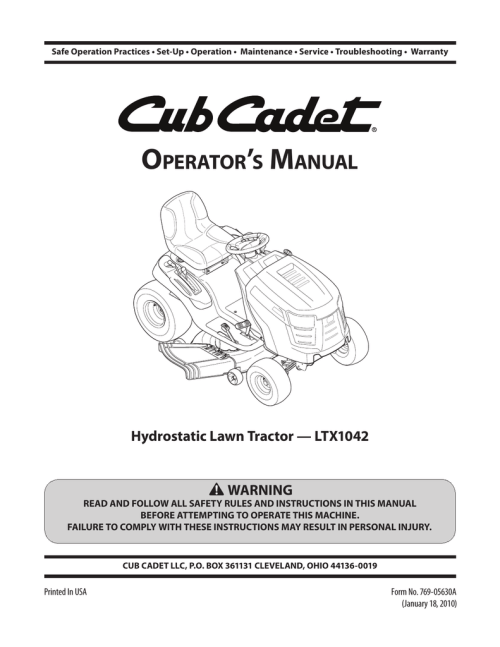 small resolution of cub cadet ltx 1042 kw operator s manual