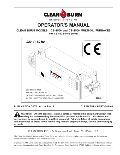 small resolution of clean burn cb 2800 operator s manual