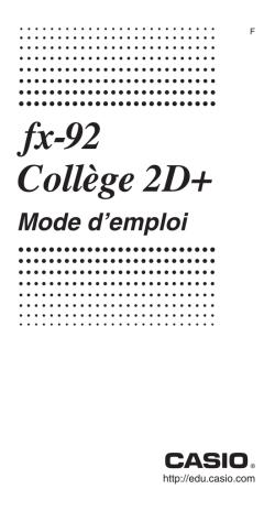 Casio Fx 92 Mode D'emploi : casio, d'emploi, Casio, Fx-92B, Guide,, Manual