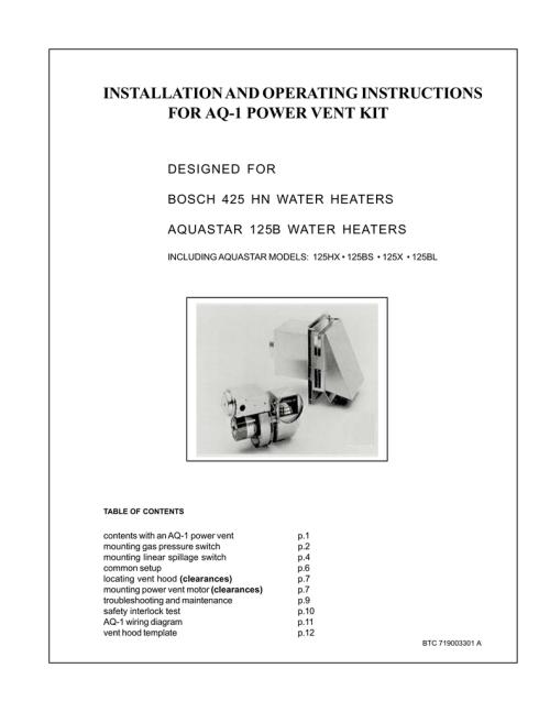 small resolution of aquastar 125bl operating instructions installation and operating instructions for aq 1 power vent