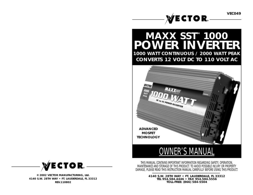 medium resolution of vector maxx sst vec049c owner s manual manualzz com volts power inverter schematic diagram vector 2000 watt power inverter